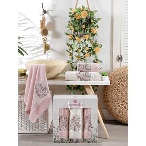 Набор из 3 полотенец Merzuka Floral махра (50x80-2/70x130-1) штуки (9523 светло-розовый)