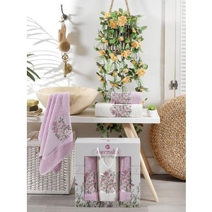 Набор из 3 полотенец Merzuka Floral махра (50x80-2/70x130-1) 3 штуки (9523 сиреневый) цена