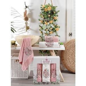 Набор из 3 полотенец Merzuka Floral махра (50x80-2/70x130-1) штуки (9523 брусничный)