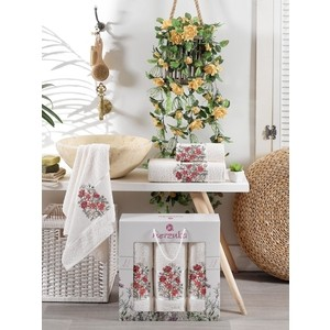 Набор из 3 полотенец Merzuka Floral махра (50x80-2/70x130-1) штуки (9523 кремовый)