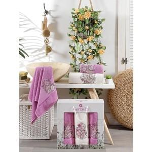 Набор из 3 полотенец Merzuka Floral махра (50x80-2/70x130-1) штуки (9523 светло-лиловый)