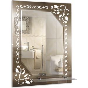 Зеркало Mixline Лазурь 535х740 полка/фацет/пескоструйный рисунок (4620001984497)
