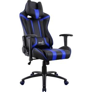 Кресло для геймера Aerocool AC120 AIR-BB черно-синее с перфорацией