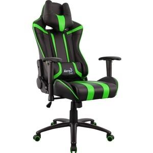 купить Кресло для геймера Aerocool AC120 AIR-BG черно-зеленое с перфорацией по цене 15489.5 рублей