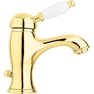 Смеситель для раковины Cezares Elite с донным клапаном, золото, ручка золото (ELITE-LSM1-03/24-M)