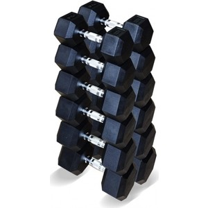 Набор гантелей Original Fit.Tools гексагональных 6 пар от 12.5 до 25 кг