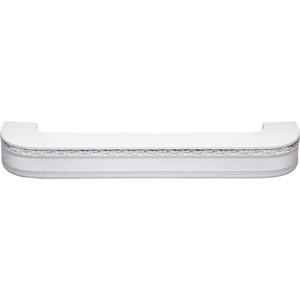 Карниз потолочный пластиковый DDA Поворот Гранд двухрядный серебро 3.8