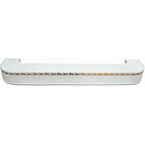 Карниз потолочный пластиковый DDA Поворот Гранд трехрядный белый 3.8
