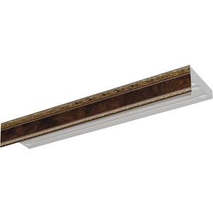 Карниз потолочный пластиковый DDA Прямой Гранд двухрядный карельская берёза 3.8 карниз потолочный пластиковый dda поворот гранд двухрядный карельская берёза 3 2