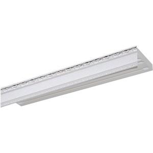 Карниз потолочный пластиковый DDA Прямой Гранд двухрядный серебро 2.4