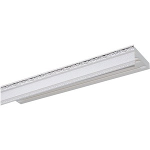 Карниз потолочный пластиковый DDA Прямой Гранд двухрядный серебро 3.8 карниз потолочный пластиковый dda прямой гранд двухрядный карельская берёза 3 2