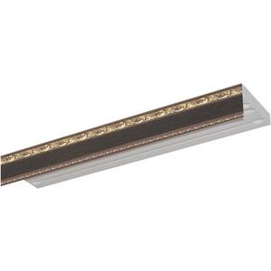 Карниз потолочный пластиковый DDA Прямой Гранд трехрядный венге 2.8