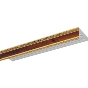Карниз потолочный пластиковый DDA Прямой Гранд трехрядный орех 3.4 карниз потолочный пластиковый dda прямой греция трехрядный орех тёмный 3 6