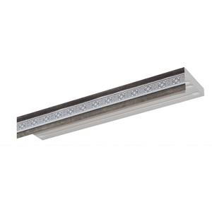 Карниз потолочный пластиковый DDA Прямой Акант двухрядный серебро 4.0