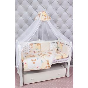 Комплект в кроватку AmaroBaby 18 предметов (6+12 подушек-бортиков) Мишка (бежевый) комплект в овальную кроватку sweet baby aria 419059 бежевый 5 предметов