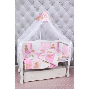 Комплект в кроватку AmaroBaby 18 предметов (6+12 подушек-бортиков) Мишка (розовый)