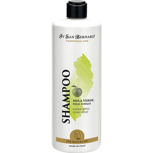 Шампунь Iv San Bernard Traditional Line Plus Shampoo Green Apple Long Coat SLS Free для длинной шерсти животных 500 мл