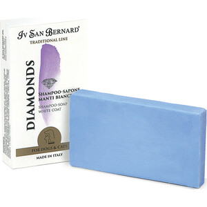 Шампунь-мыло Iv San Bernard Traditional Line Diamonds White Coat Shampoo - Soap отбеливание и восстановление яркости окраса шерсти для животных 75 гр