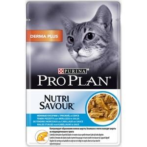 Паучи PRO PLAN Nutri Savor Derma Plus Cat Chunks Codfish in Gravy кусочки в соусе с треской вывод шерсти из желудка для кошек 85 г (12342771)