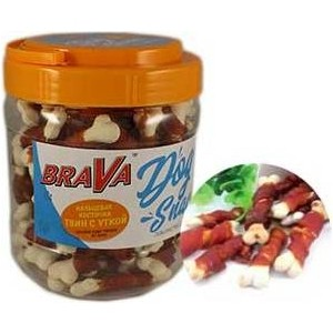 Лакомство BraVa Dog Snacks кальциевая косточка твин с уткой для собак 700 г (110699)