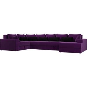 Угловой Диван АртМебель Мэдисон-П левый угол микровельвет фиолетовый фиолетовый/черный