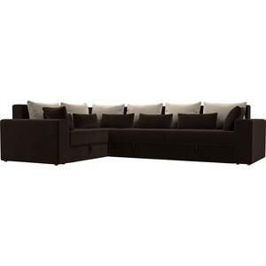 Угловой диван АртМебель Мэдисон Long микровельвет коричневый бежевый/коричневый левый угол