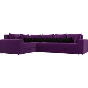 Угловой диван АртМебель Мэдисон Long микровельвет фиолетовый фиолетово/черный левый угол угловой диван артмебель мэдисон микровельвет черный левый угол