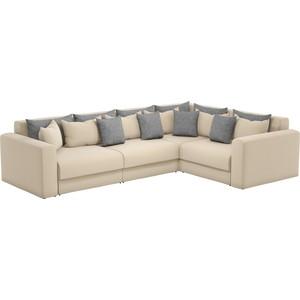 Угловой диван Мебелико Мэдисон Long рогожка бежевый бежевый/серый правый угол