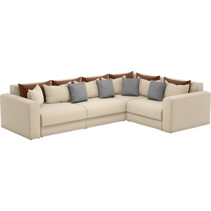 Угловой диван Мебелико Мэдисон Long рогожка бежевый коричневый/серый правый угол фото