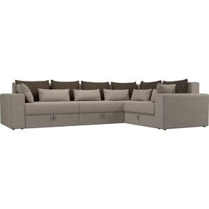Угловой диван АртМебель Мэдисон Long рогожка бежевый коричневый/бежевый правый угол стоимость
