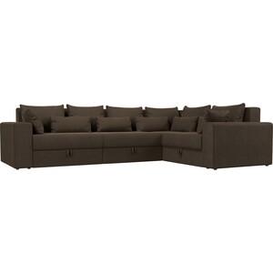 Угловой диван Мебелико Мэдисон Long рогожка коричневый правый угол