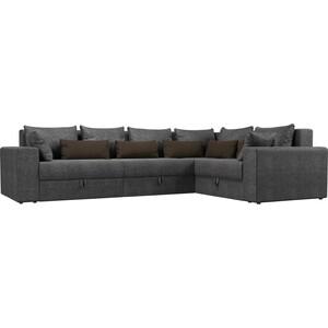 Угловой диван Мебелико Мэдисон Long рогожка серый серый/коричневый правый угол