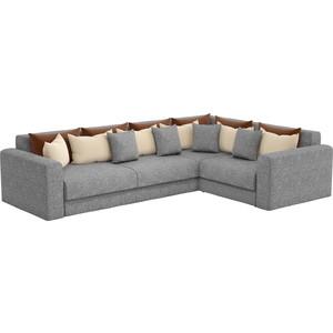 Угловой диван АртМебель Мэдисон Long рогожка серый коричневый/бежевый правый угол стоимость