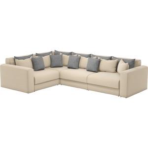 Угловой диван Мебелико Мэдисон Long рогожка бежевый бежевый/серый левый угол
