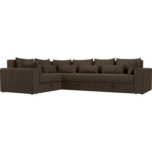 Угловой диван Мебелико Мэдисон Long рогожка коричневый левый угол