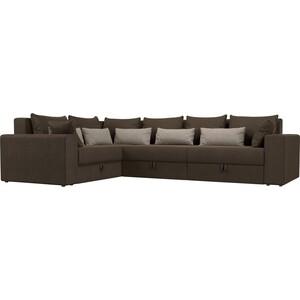 Угловой диван АртМебель Мэдисон Long рогожка коричневый коричневый/бежевый левый угол
