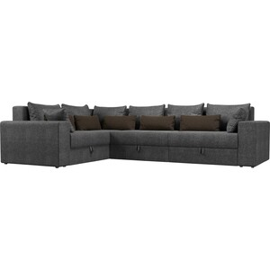 Угловой диван Мебелико Мэдисон Long рогожка серый серый/коричневый левый угол