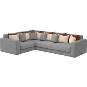 Угловой диван АртМебель Мэдисон Long рогожка серый коричневый/бежевый левый угол цена и фото