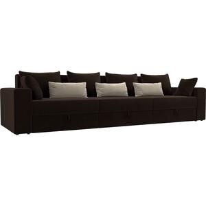 Диван-еврокнижка Мебелико Мэдисон Long микровельвет коричневый коричневый/бежевый цена и фото