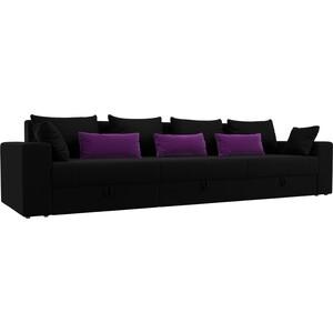 Диван-еврокнижка Мебелико Мэдисон Long микровельвет черный черный/фиолетовый