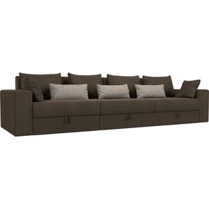 Диван-еврокнижка Мебелико Мэдисон Long рогожка коричневый коричневый/бежевый цена и фото