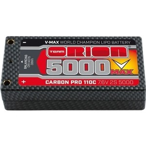 цена на Аккумулятор Team Orion Batteries Carbon Pro V-Max LiPo 5000 110C 7.6 V 2S Shorty Pack Tubes - ORI14076