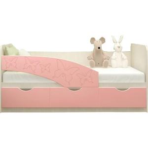 Кровать Миф Бабочки дуб беленый/розовый ПВХ 1.6 м