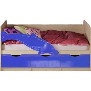 цена Кровать Миф Дельфин 1 дуб беленый/синий ПВХ 1.6 м онлайн в 2017 году