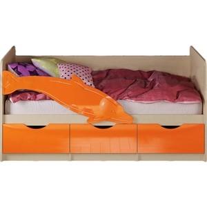 Кровать Миф Дельфин 1 дуб беленый/оранжевый ПВХ 1,6 м кровать одинарная олимп 06 222 дельфин 160 дуб линдберг голубой металлик