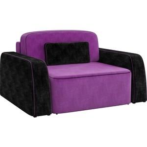 Кресло АртМебель Гермес микровельвет фиолетово-черный