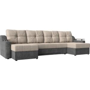 Угловой диван Мебелико Сенатор-П рогожка бежевый/серый