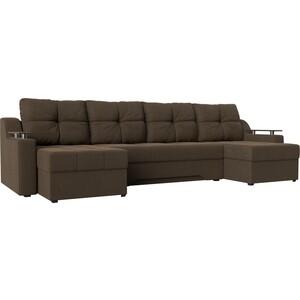 Угловой диван Мебелико Сенатор-П рогожка коричневый