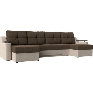 Угловой диван АртМебель Сенатор-П рогожка коричневый/бежевый