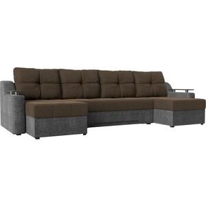 Угловой диван АртМебель Сенатор-П рогожка коричневый/серый